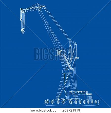 Floating Crane. Vector Rendering Of 3d. Wire-frame Style. The Layers Of Visible And Invisible Lines