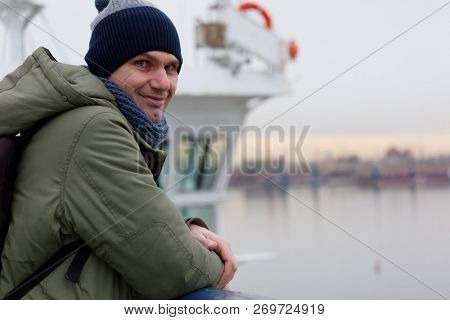 Man on a deck of cruise liner during winter cruise