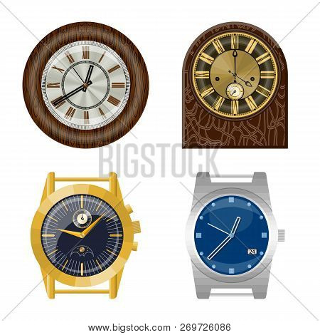 Isolated Object Of Clock And Time Symbol. Collection Of Clock And Circle Stock Vector Illustration.