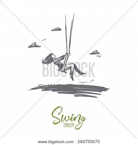 Girl, Swing, Childhood, Fun, Play Concept. Hand Drawn Girl Swinging Outdoors And Having Fun Concept