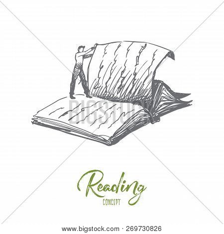 Book, Reading, Library, Read Concept. Hand Drawn Person Standing On Giant Book And Thumbs Page Conce