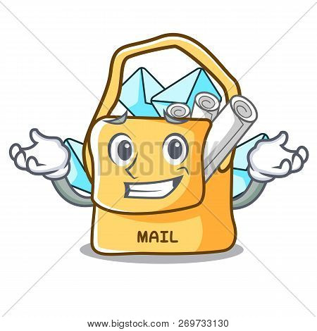 Grinning The Bag With Shape Mail Cartoon