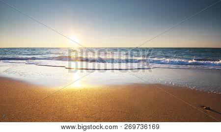 Beautiful beach shore seascape. Summer nature composition.