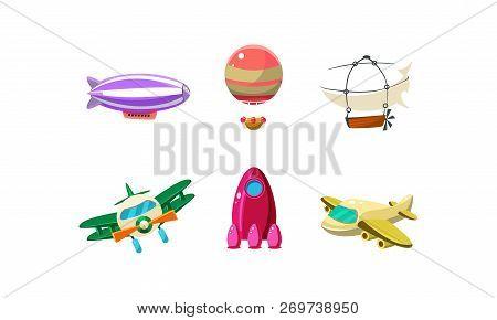 Cute Cartoon Aircrafts Bright Colors Set, Blimp, Biplane, Rocket, Hot Air Balloon Vector Illustratio