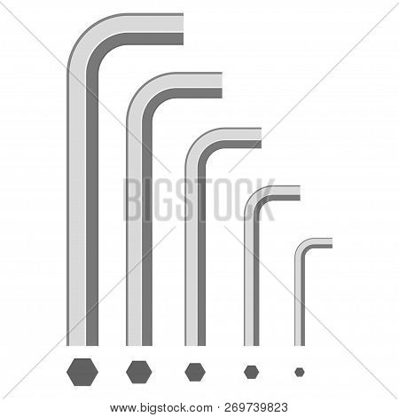Allen Wrench Top And Side View. Vector Flat Hexagonal Key Icons Set Isolated On A White Background.