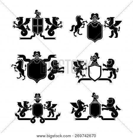 Heraldic Shield And Knight Helmet Set Silhouette. Fantastic Beasts. Template Heraldry Design Element