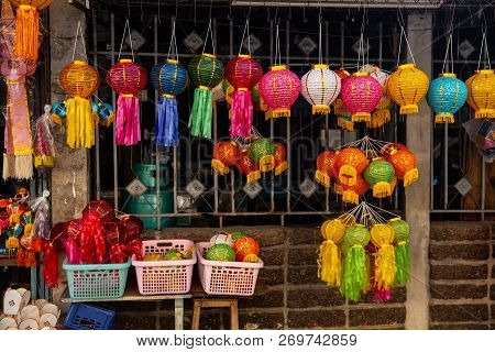 Colorful Paper Lantern For Decoration In Loy Kratong Or Loi Kra Tong Full Moon Event In Thailand.