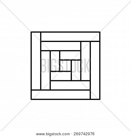 Black & White Vector Illustration Of Log Cabin Quilt Pattern. Line Icon Of Quilting & Patchwork Geom