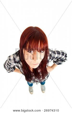 Angry girl shot with a wide angle lens isolated on white