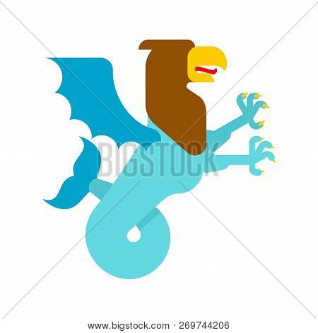 Sea griffin Heraldic animal. Griffin with fishtail. Fantastic Beast. Monster for coat of arms. Heraldry design element. poster