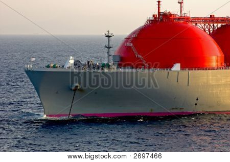 LNG carrier ship designed for transporting natural liquefied gas anchored poster