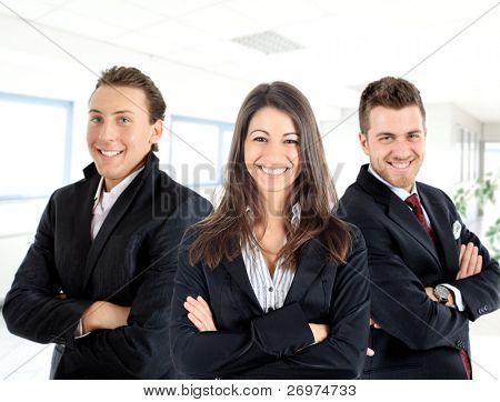 Three businessmen in the office: teamwork