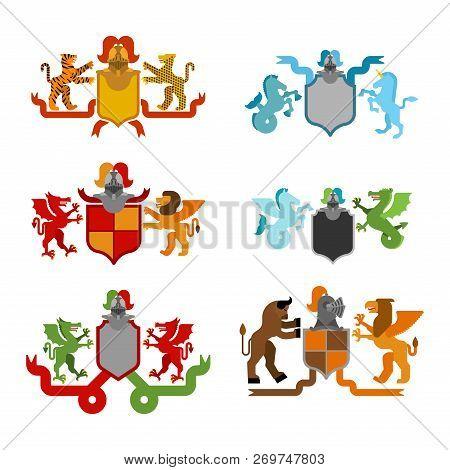 Heraldic Shield And Knight Helmet Set. Fantastic Beasts. Template Heraldry Design Element. Coat Of A