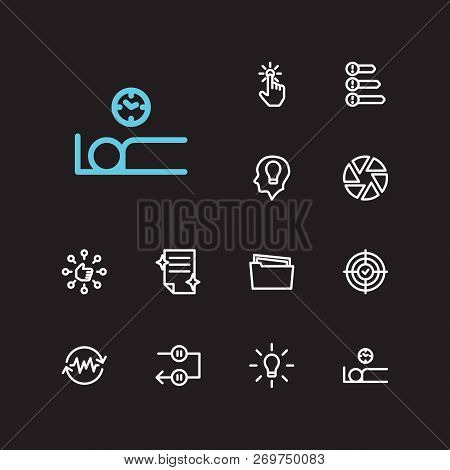 Task Icons Set. Periodic Breaks And Task Icons With Non-stop Action, Focus And Capability. Set Of Pe