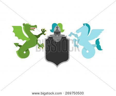 Heraldic Shield Hippocampus And Wyvern Sea Dragon And Knight Helmet. Fantastic Beasts. Template Hera
