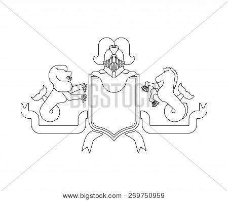 Heraldic Shield Sea Lion And Hippocampus And Knight Helmet. Fantastic Beasts. Template Heraldry Desi