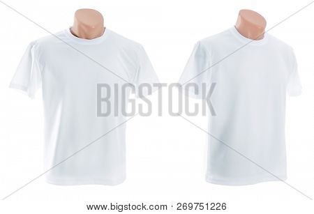 Mannikin in a white T shirt isolated on white background for your design