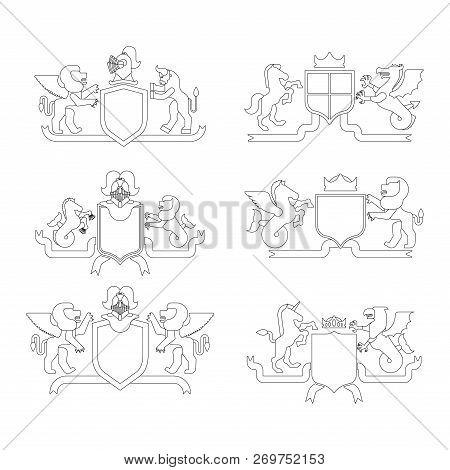 Heraldic Shield And Knight Helmet Set Linear Style. Fantastic Beasts. Template Heraldry Design Eleme