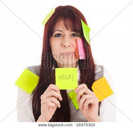 Imprenditrice sempre mad coperto con note appiccicose e chiedendo aiuto