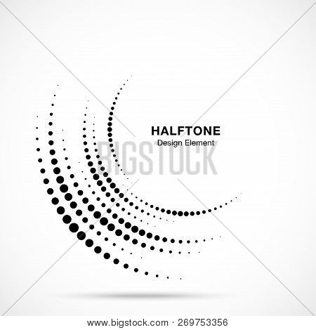 Halftone Incomplete Circle Frame Dots Logo Isolated On White Background. Circular Part Design Elemen
