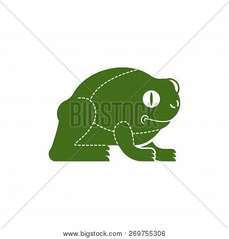 Cut of meat Frog. Anuran silhouette scheme lines of different parts meat. How to cut flesh amphibian. Poster Butchers diagram for meat stores. Barbecue and steaks, delicacy dishes. poster