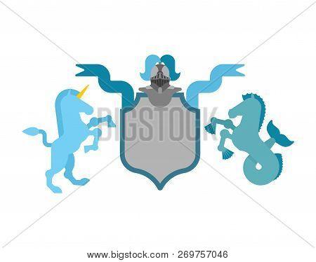 Heraldic Shield Unicorn And Hippocampus And Knight Helmet. Fantastic Beasts. Template Heraldry Desig