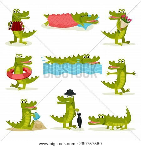 Flat Vector Set Of Funny Crocodile In Different Actions. Green Predatory Reptile. Funny Humanized An