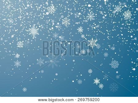 Snowfall Christmas Background. Flying Snow Flakes And Stars On Winter Sky Background. Winter Wite Sn