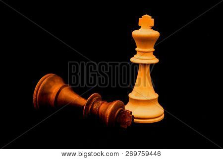Black King Surreder To White King At The End Of The Game. Two Strandard Chess Wooden Pieces On Black
