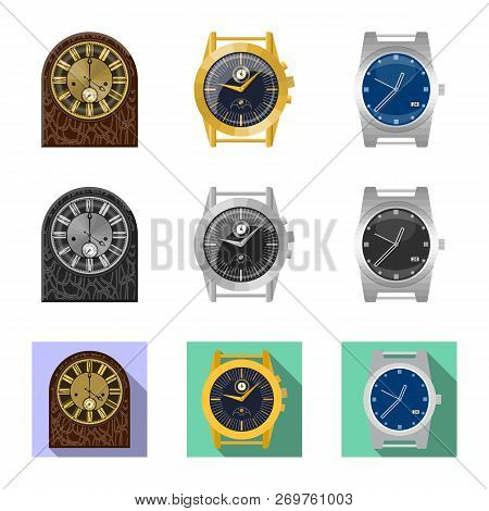 Vector Illustration Of Clock And Time Logo. Set Of Clock And Circle Stock Vector Illustration.
