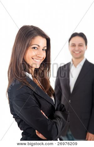 zwei lächelnde Geschäftsleute, isoliert auf weiss