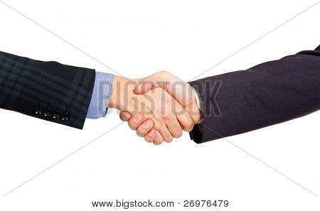 Two businessmen hands handshake isolated on white