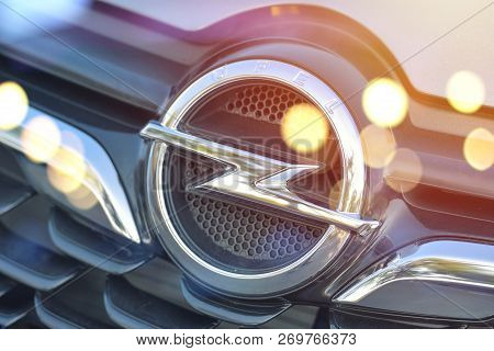 Galati, Romania - September 2, 2017: Opel Car Front Logo Displayed In An Automobile Show. Opel Is An