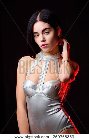 Girl Attractive Body Wear Futuristic Fashion Lingerie. Futuristic Fashion Concept. Lady Wear Sexy Sp