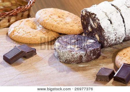 Traditional Italian and Portuguese dessert made from dark  chocolate and broken cookies.