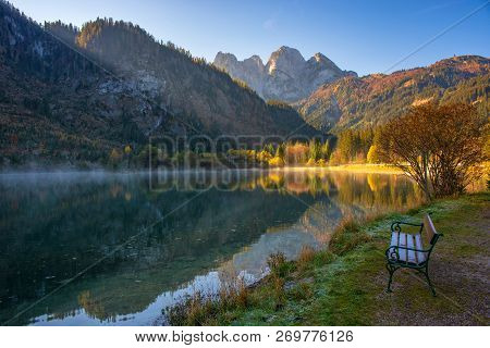 Relaxing Place On The Shore Of Gosaub Lake At Autumn Morning, Salzkammergut, Upper Austria
