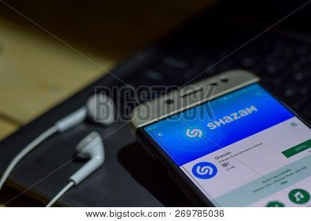 Bekasi, West Java, Indonesia. November 20, 2018 : Shazam Dev App On Smartphone Screen. Shazam Is A F