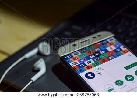 Bekasi, West Java, Indonesia. November 20, 2018 : Tumblr Dev App On Smartphone Screen. Tumblr Is A F