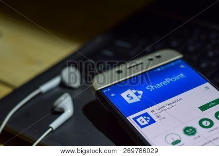Bekasi, West Java, Indonesia. November 20, 2018 : Microsoft Sharepoint Dev App On Smartphone Screen.