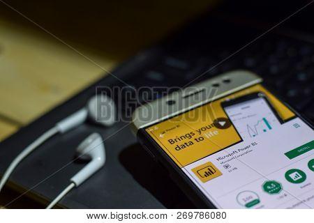 Bekasi, West Java, Indonesia. November 20, 2018 : Microsoft Power Bi Dev App On Smartphone Screen. M