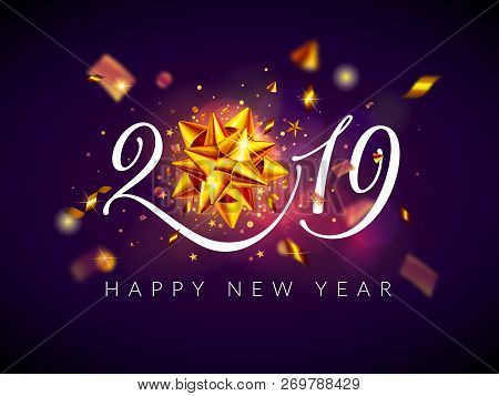 2019 Happy New Year And Christmas Background, Greeting Card With Calligraphic 2019 Number, Shiny Gol