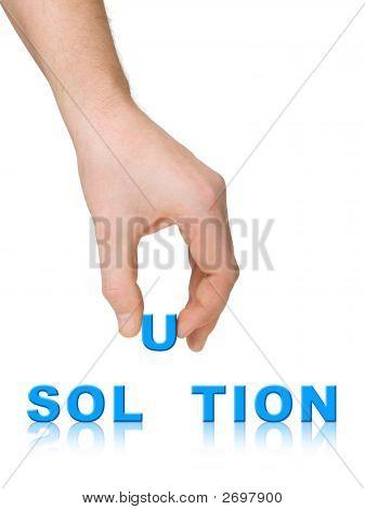Solución de palabra y de la mano
