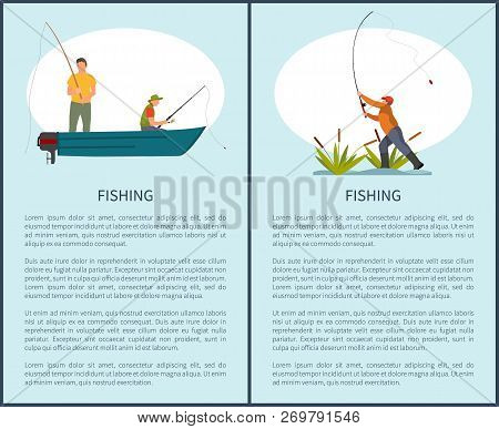 Fishing Passtime Hobby Or Time Spending Poster With Text Sample, Fishery Flyer With Fishman And Rod