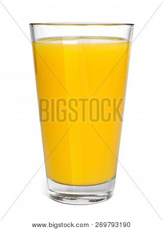 Fresh Orange Juice In A Drinking Glass, Top View. Healthy Fruit Juice, Isolated On White Background.