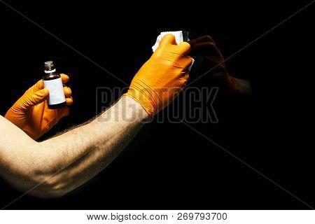 Car Polish Wax Worker Hands Polishing Car. Buffing And Polishing Vehicle With Ceramic. Car Detailing