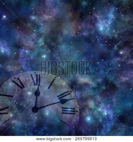 Time And Space Background - Faint Clock Face Merging With Dark Night Sky Background With Many Stars,