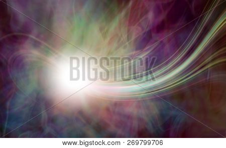 Magnificent Energy Orb Phenomenon Background - Bright White Orb With A A Trail Of Multicoloured Lase