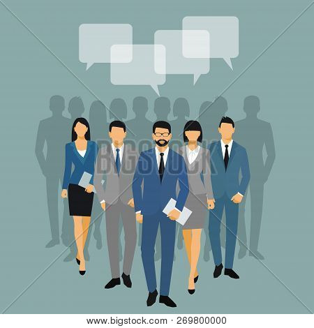 Business Men And Women Silhouette. Team Business People Group Hold Document Folders  On Blue Backgro