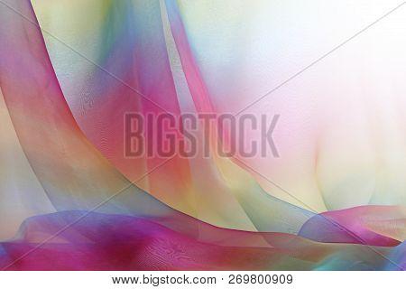 Cascading Rainbow Chiffon Background - Beautiful Cascades Of Rainbow Coloured Delicate Transparent C