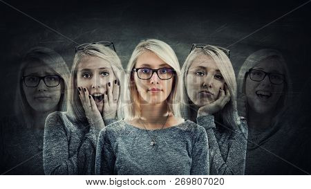 Young Woman Suffer Split Emotions Into Five Different Inner Personalities. Multipolar Mental Health